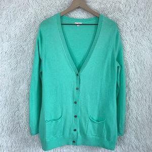 Gap | Green Button Down Boyfriend Cardigan Size XL